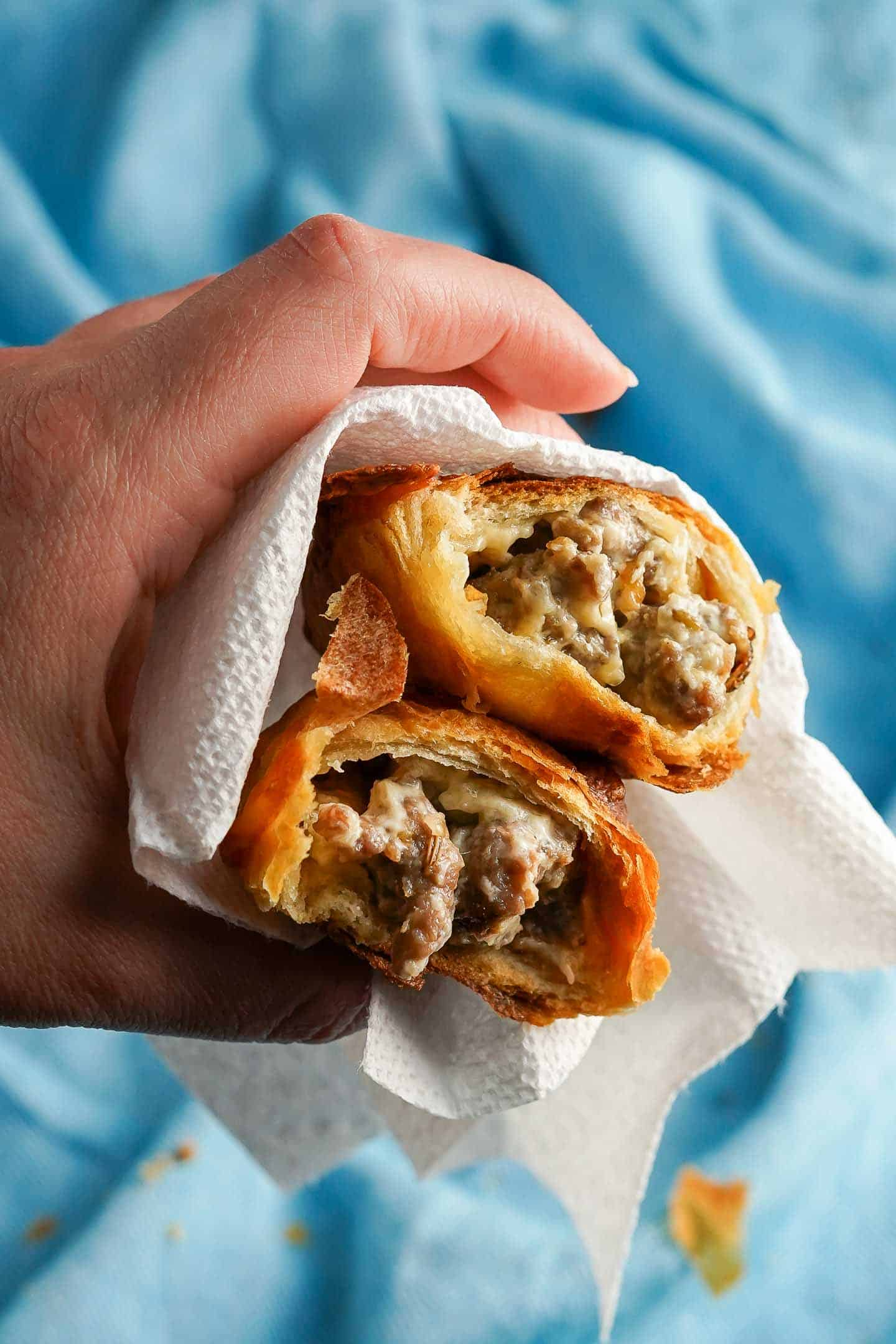 Sausage and Cheese Turnover Cross section