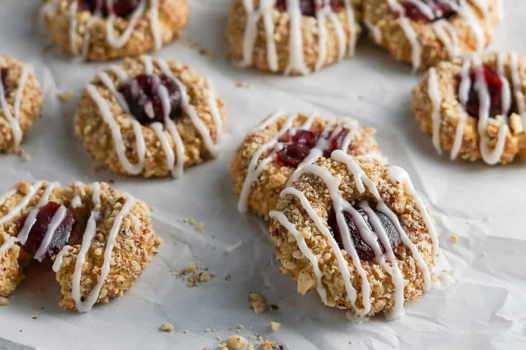 Thumbprint Cookies on Parchment Paper