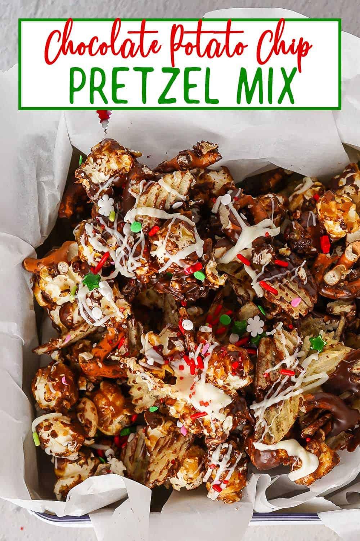 Chocolate Potato Chip Pretzel Mix in tin close up view