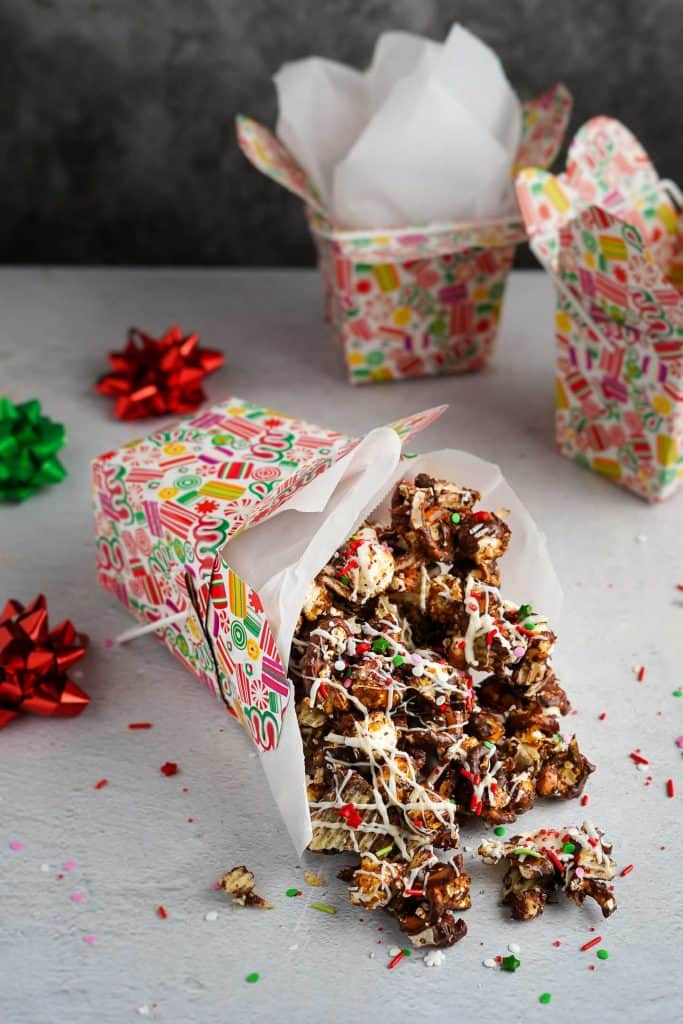 Chocolate Potato Chip Pretzel Mix in Gift Box