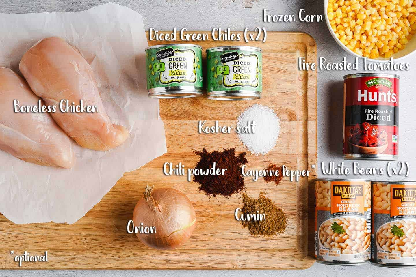Easy Slow Cooker Chicken Chili Ingredients on Cutting Board