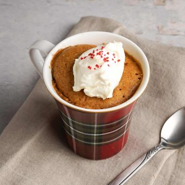 Gingerbread Mug Cake with Whipped Cream