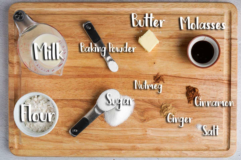 Gingerbread Mug Cake Ingredients