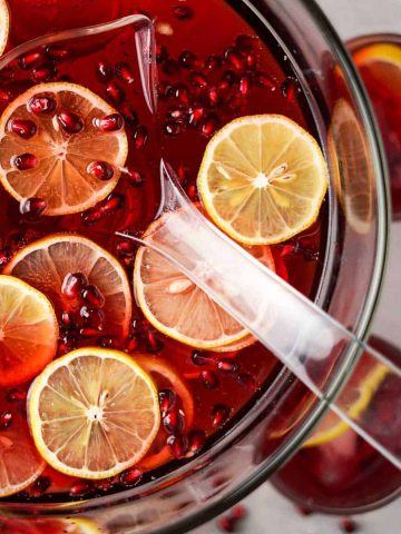 Pomegranate Cranberry Punch Close up in Bowl with ladle