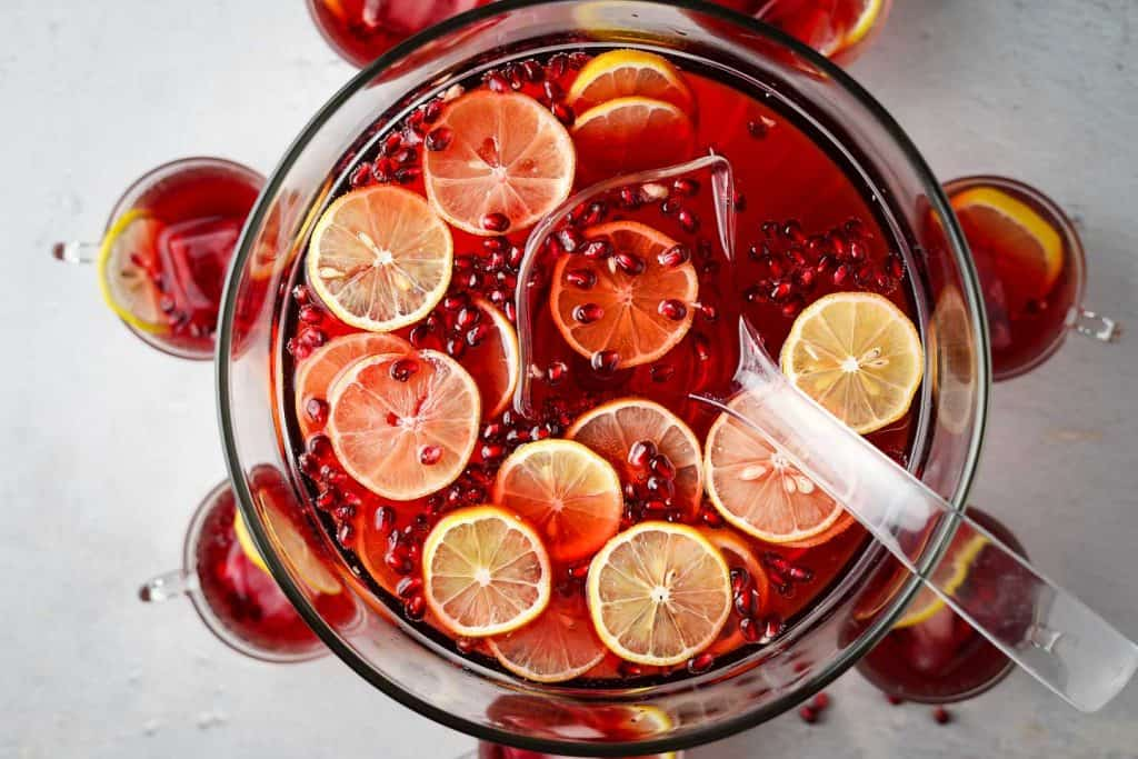Pomegranate Cranberry Punch in a Bowl