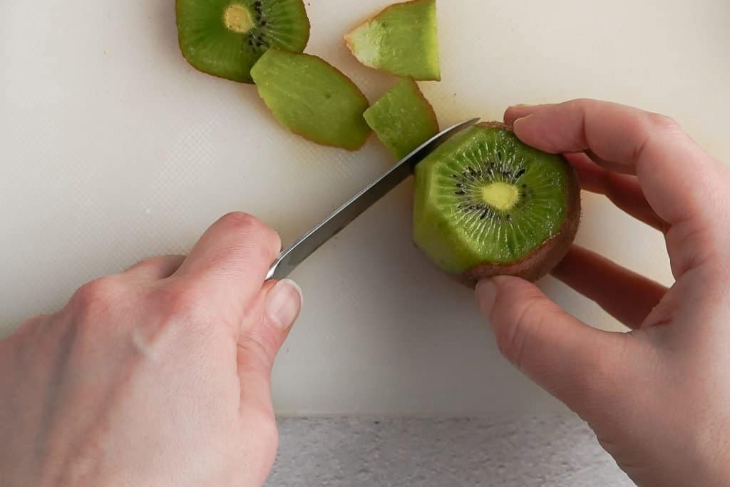 Cutting Skin off Kiwi with Paring Knife