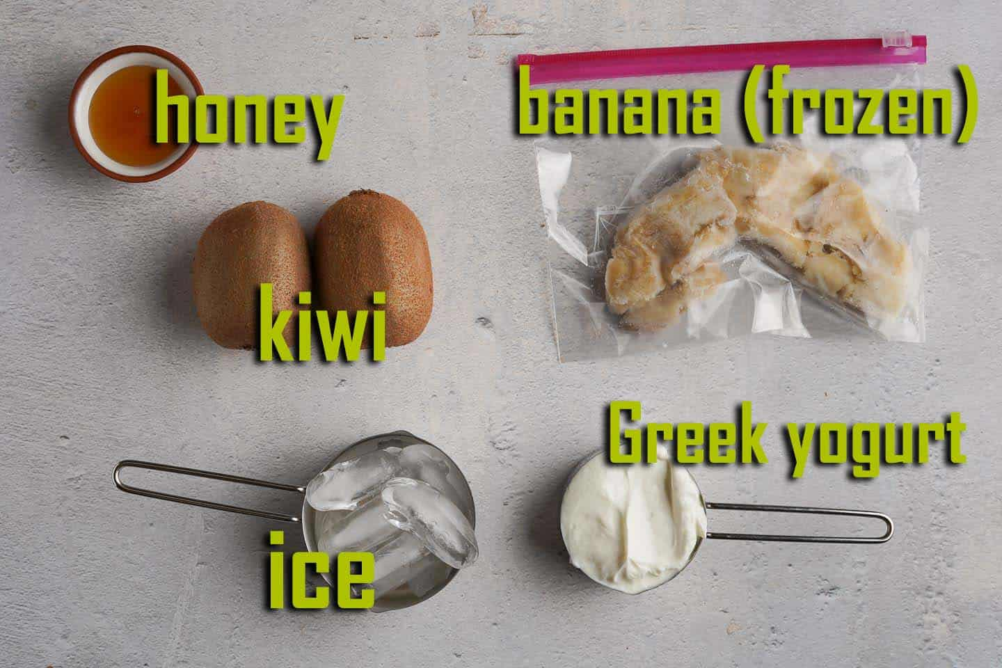 Display of Kiwi Banana Smoothie Ingredients