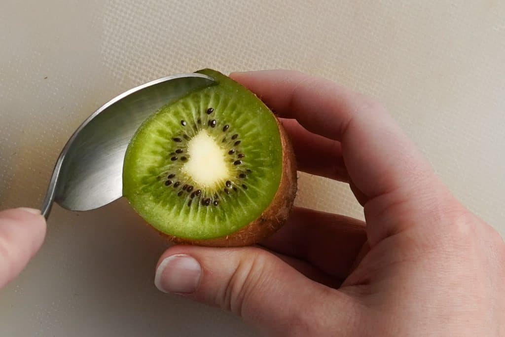Scooping Kiwi out with Spoon