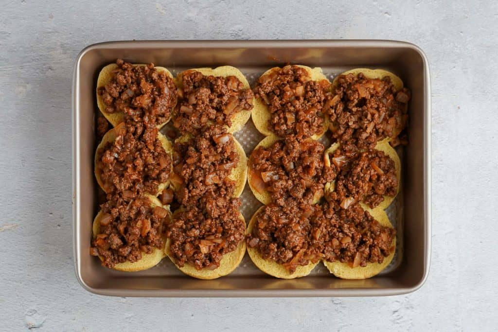 Sloppy Joe Filling on Slider Buns