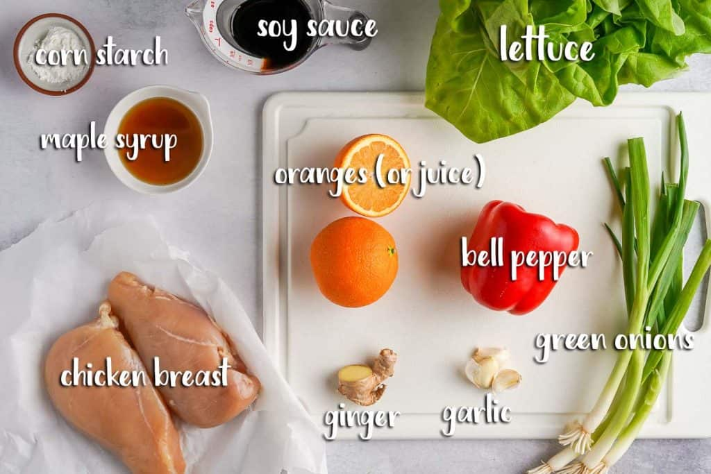 Teriyaki Chicken Lettuce Wraps Ingredients on Cutting Board