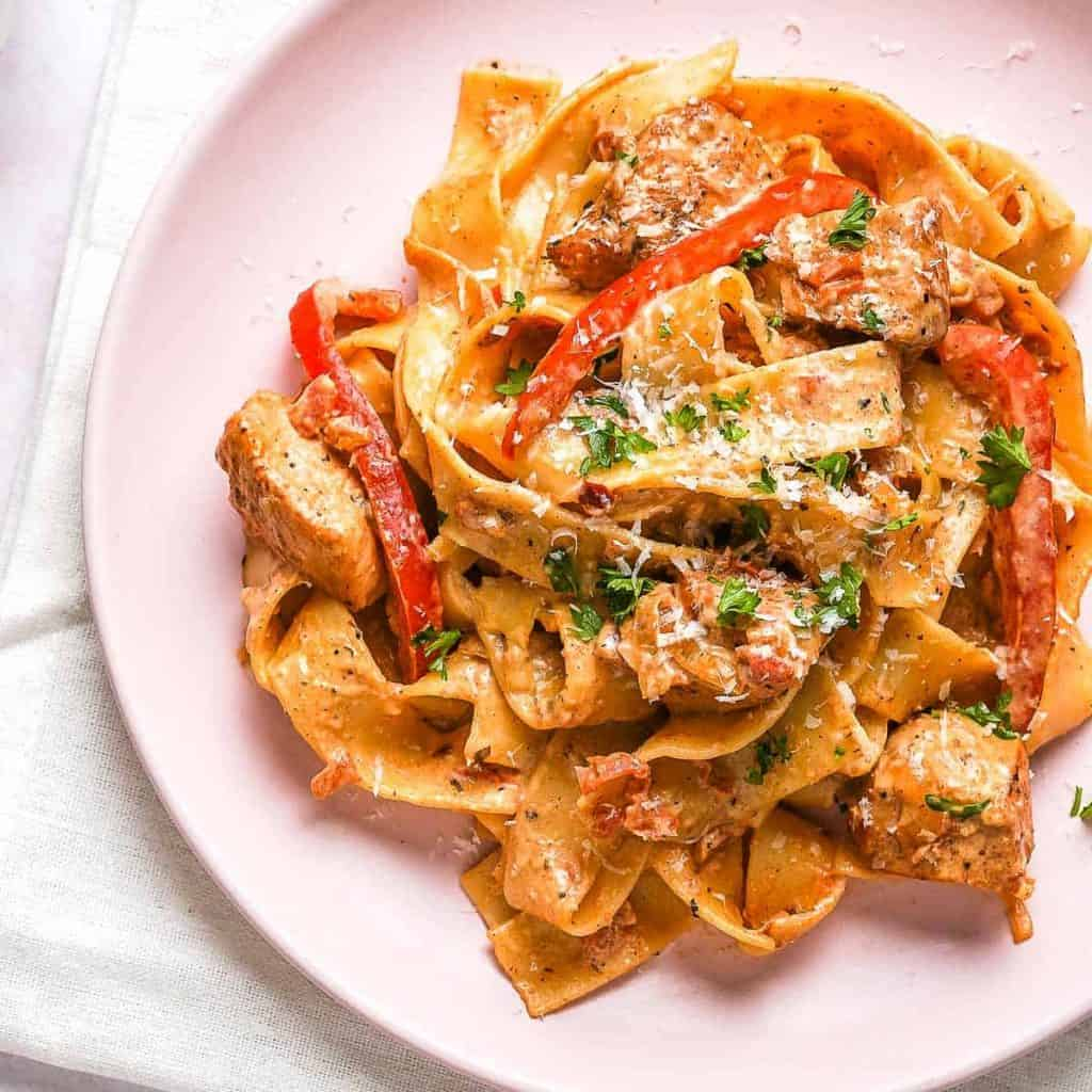 Creamy Cajun Chicken Pasta on Plate