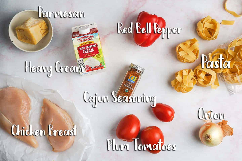 Creamy Cajun Chicken Pasta Ingredients