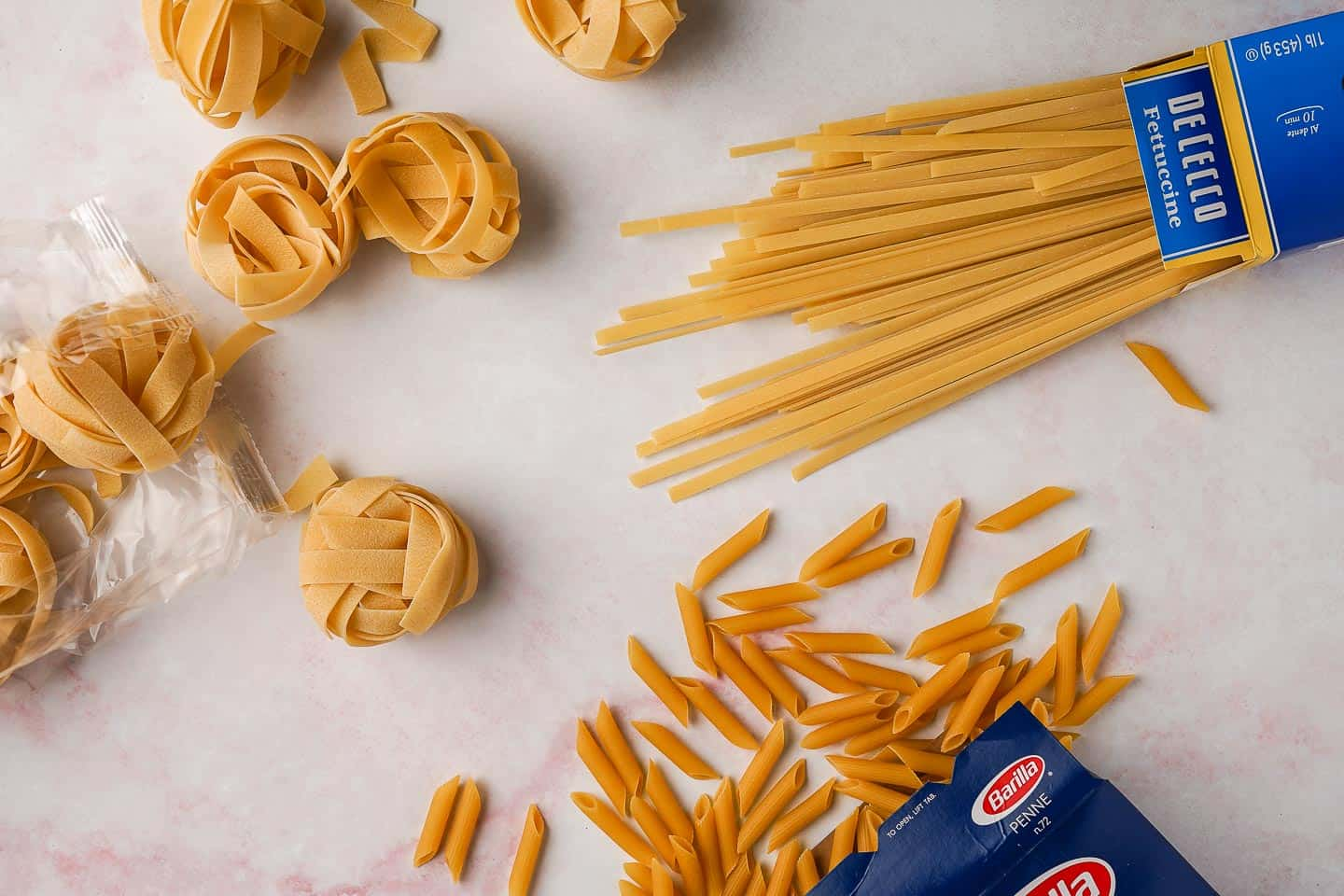 Pappardelle, Fettuccine and Penne Pasta