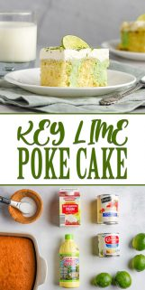 collage of key lime poke cake with text in the center