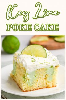 slice of key lime poke cake on white plate with text at the top
