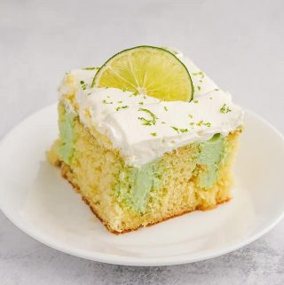Key Lime Poke Cake on a Plate