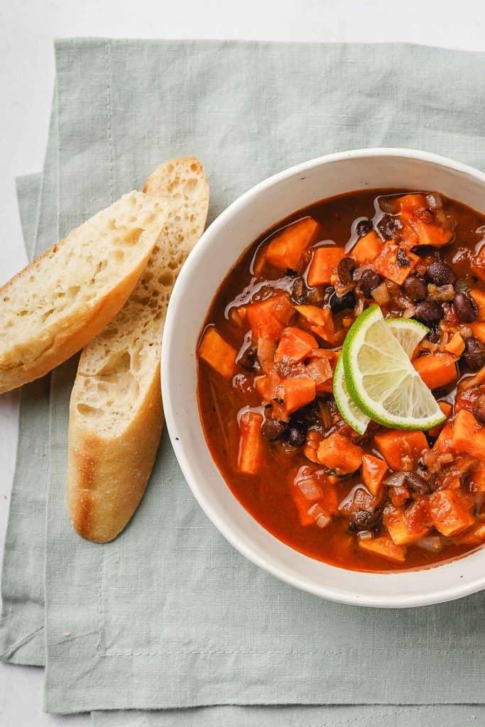 Sweet Potato Black Bean Soup Close Up in a Bowl