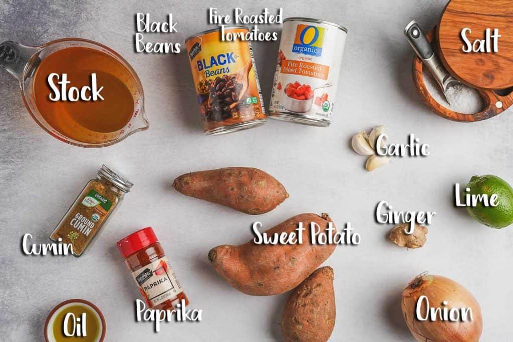 Sweet Potato Black Bean Soup Ingredients