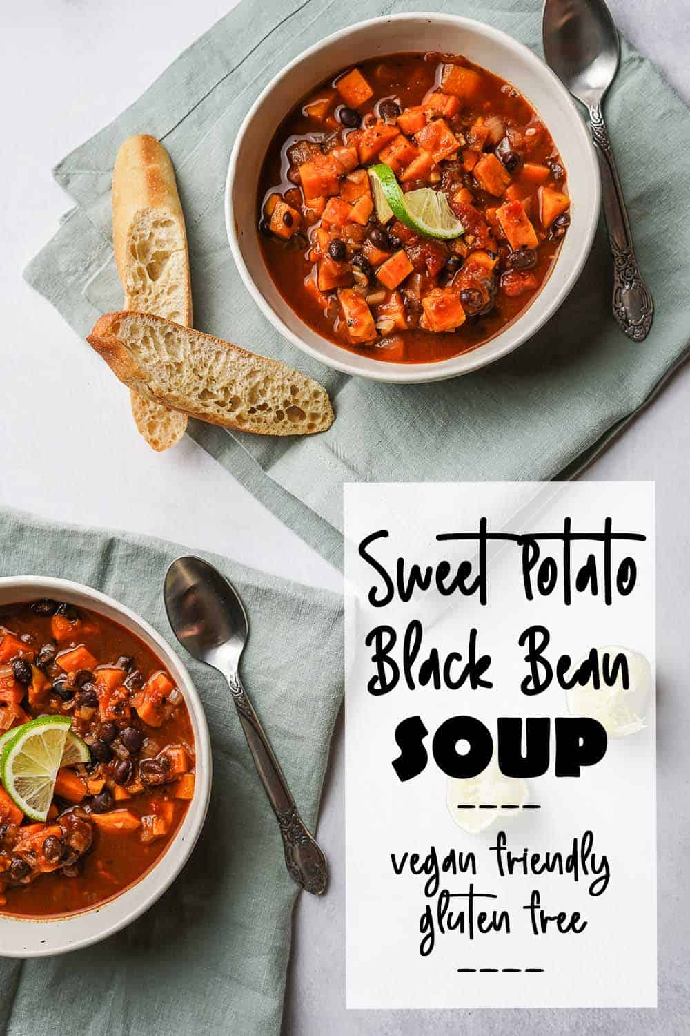 Sweet Potato Black Bean Soup in two bowls with bread on the side