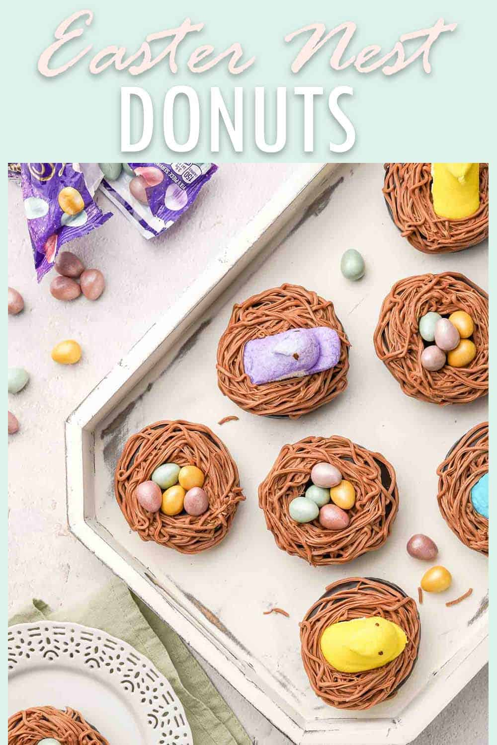 Easter Nest Donuts in Tray with plate and candy eggs on the side