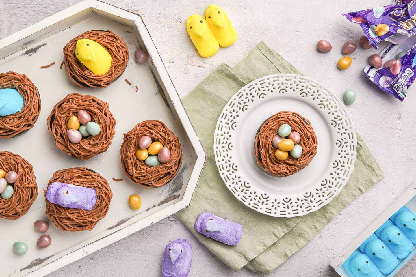 Easter Nest Donuts in Tray and on Plate