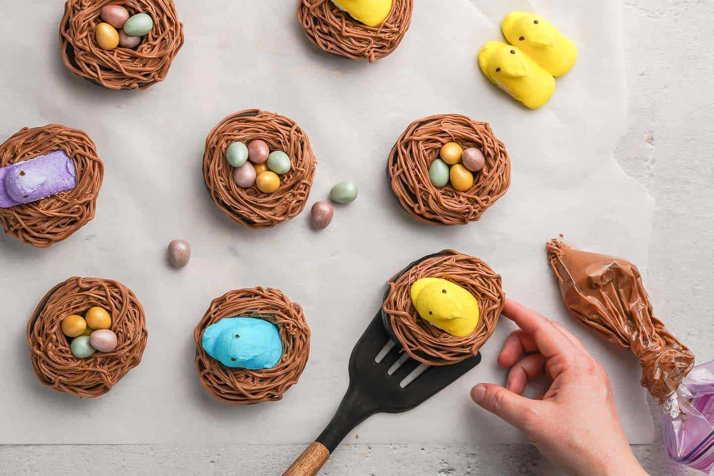 Easter Nest Donuts on Parchment Paper