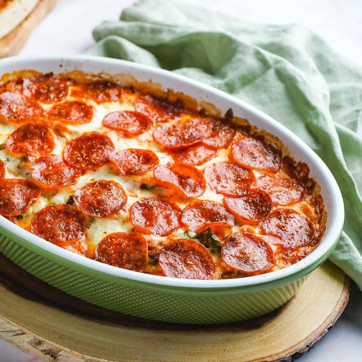 Pizza Chicken Casserole Close Up in Dish