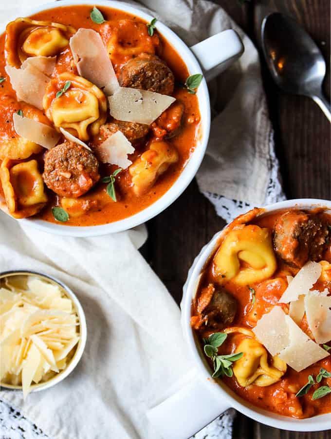 Sausage Tortellini Tomato Soup