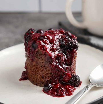 Chocolate Berry Mug Cake Close Up
