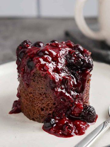 Chocolate Berry Mug Cake Featured Image 4.21
