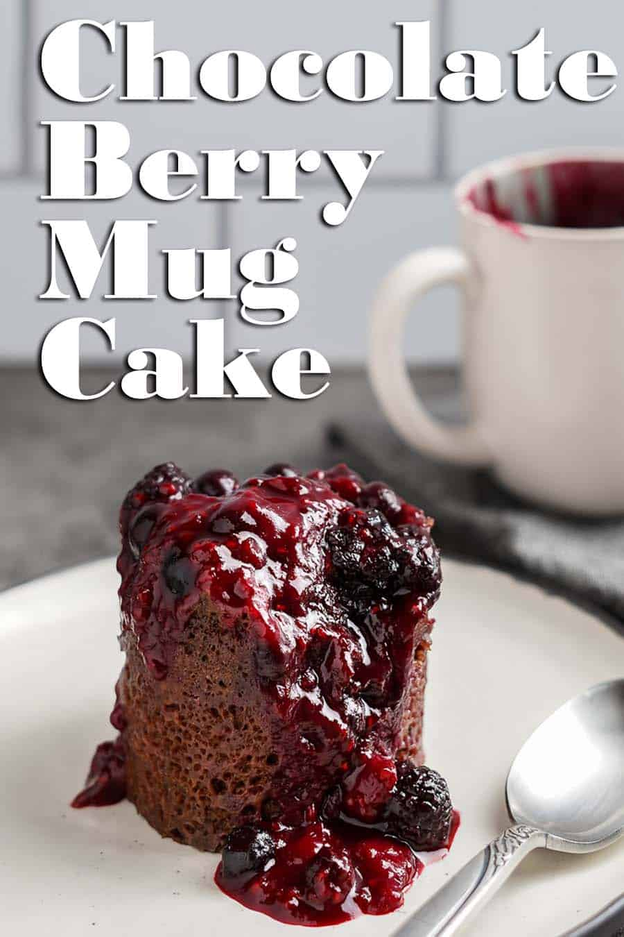 Chocolate Berry Mug Cake Side View