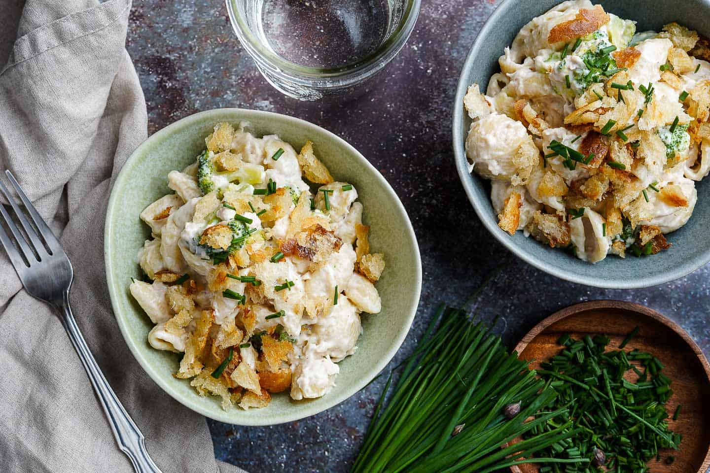 Stovetop Tuna Noodle Casserole in 2 Bowls