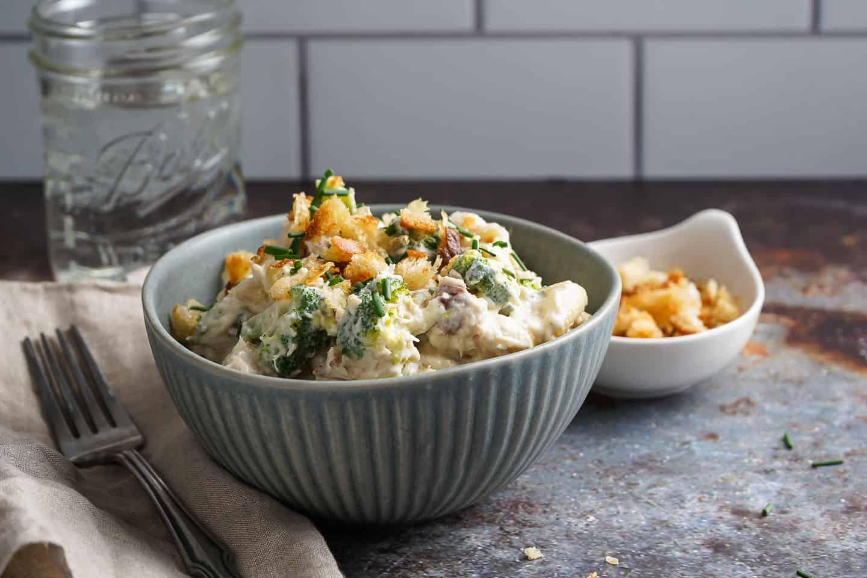 Stovetop Tuna Noodle Casserole in Bowl
