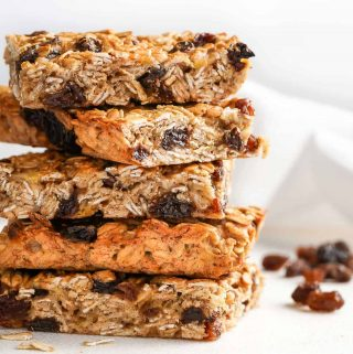 Stack of Easy Oatmeal Raisin Breakfast Bars