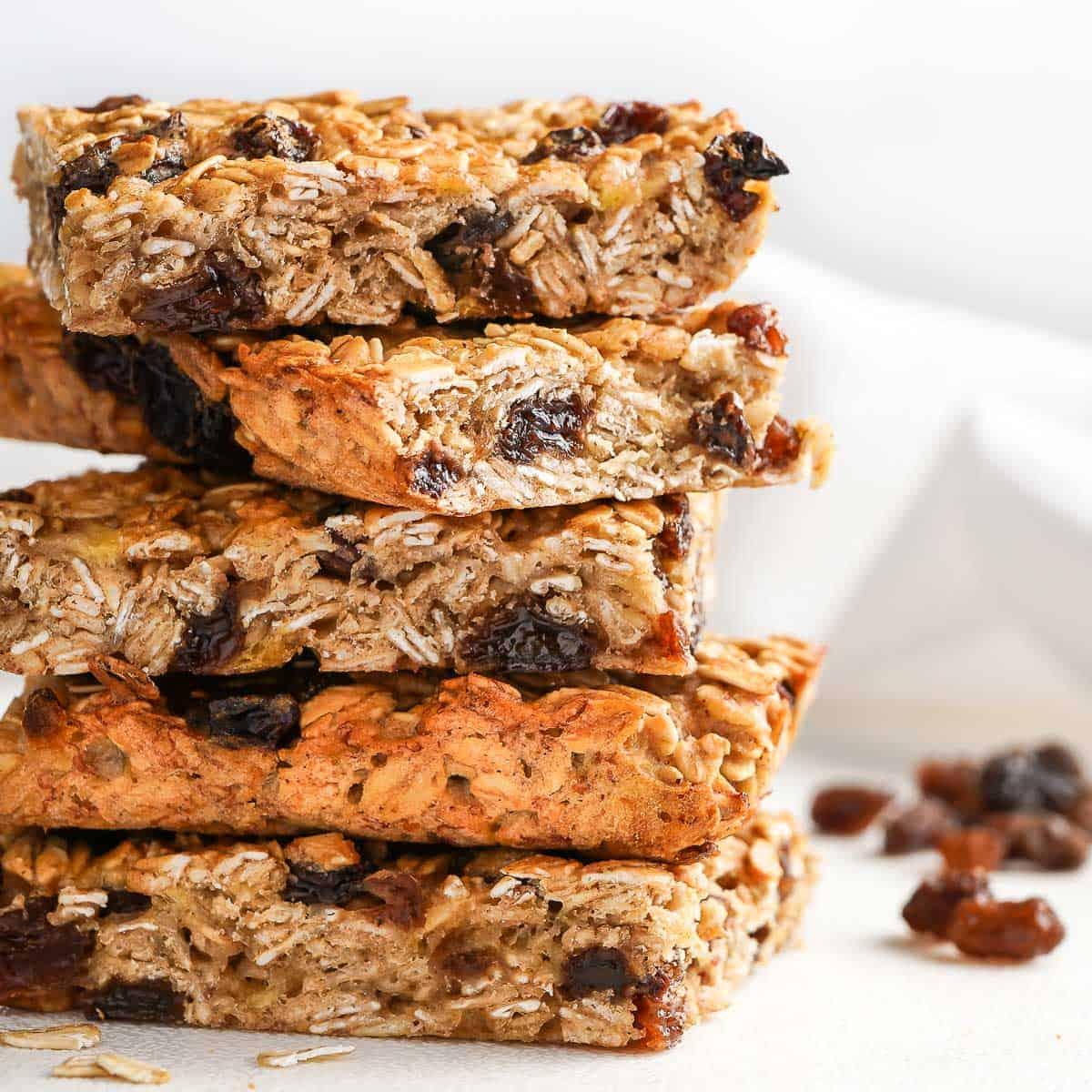 Stack of Easy Oatmeal Raisin Breakfast Bars