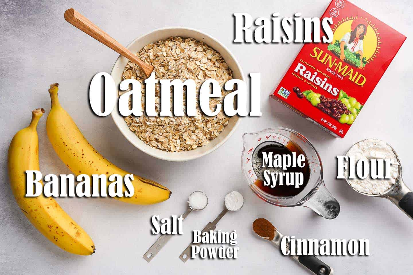 Easy Oatmeal Raisin Breakfast Bars Ingredients on Counter