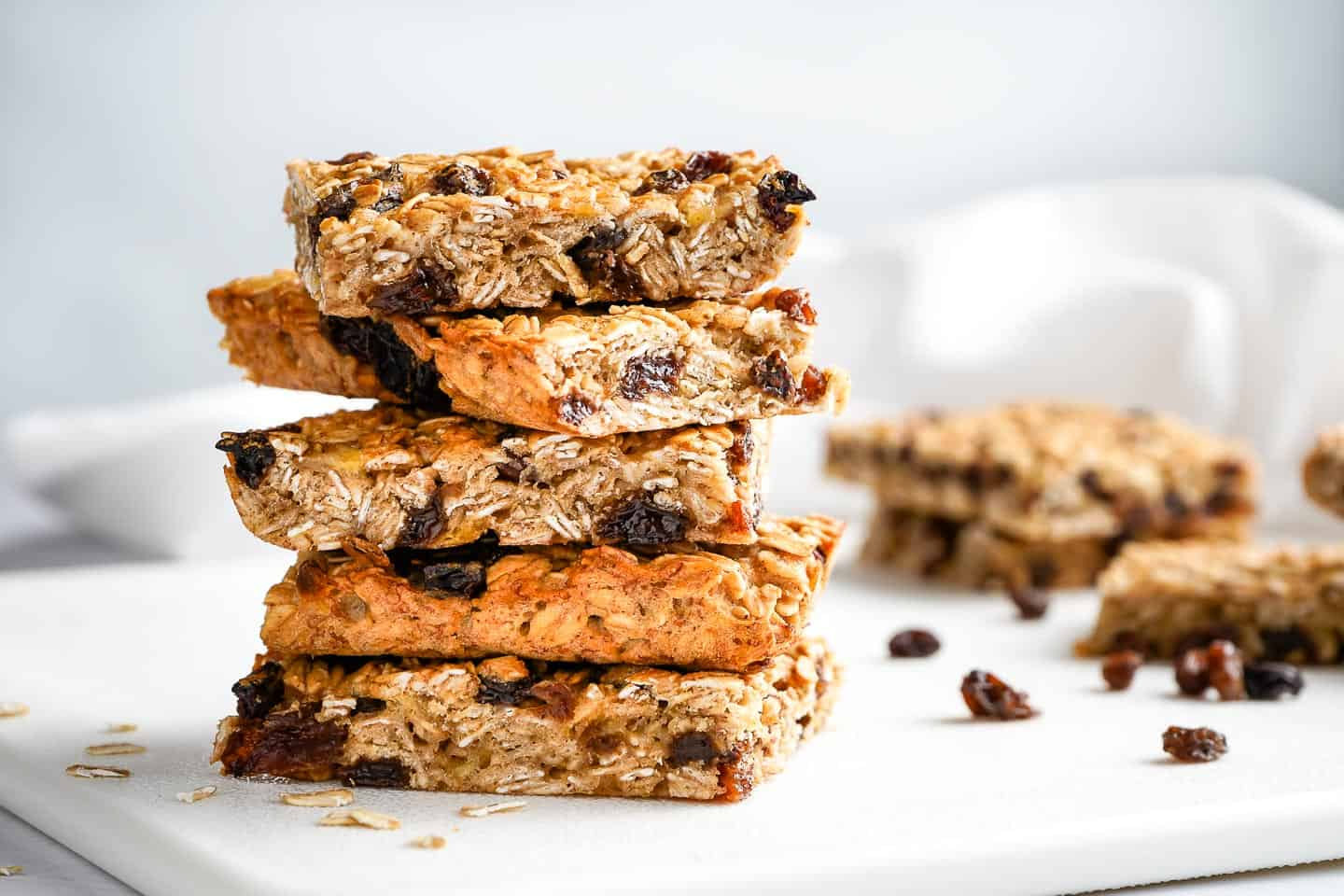 Easy Oatmeal Raisin Breakfast Bars on Cutting board