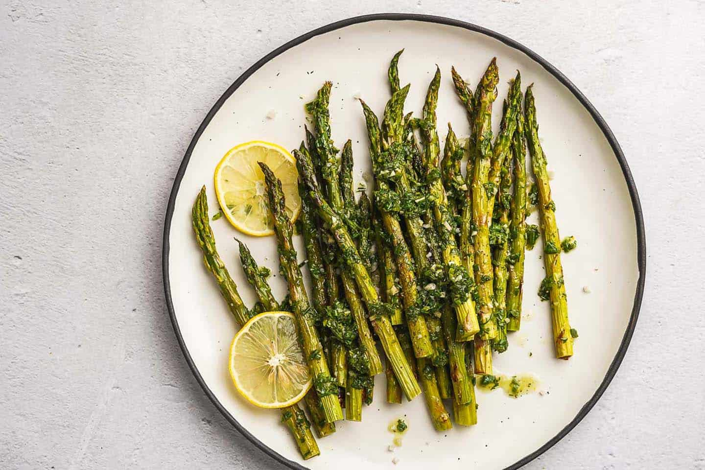 Lemon Herb Roasted Asparagus on Plate Landscape