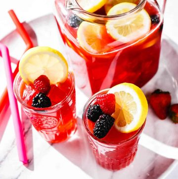 Berry Lemonade in pitcher on tray