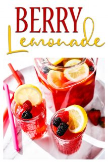 Berry Lemonade in Pitcher and Glasses with Straws