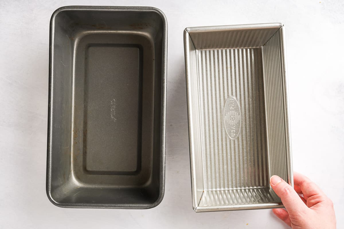 large and small loaf pans side by side