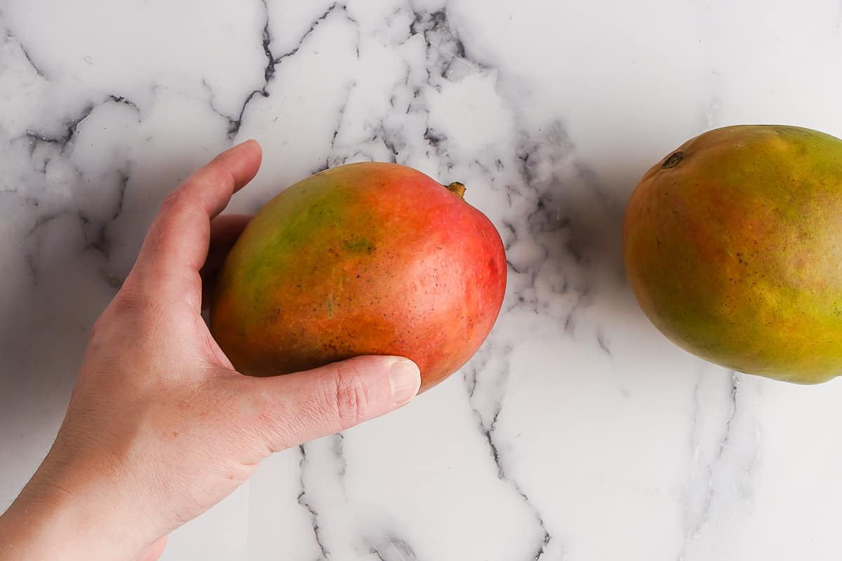 Hand holding a mango with another mango on the side