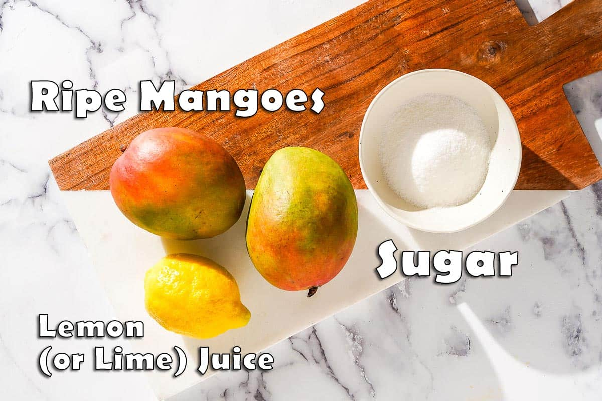 Mango Popsicle Ingredients on Cutting Board