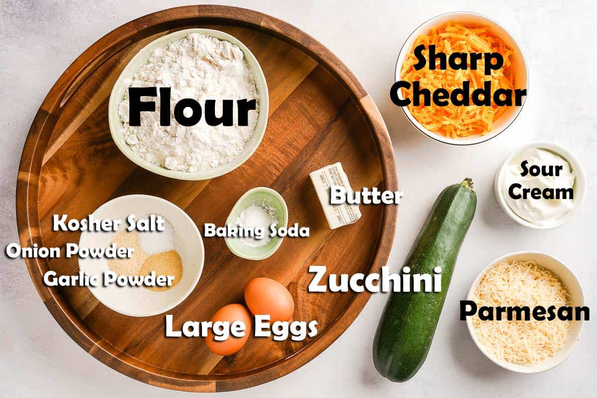 Zucchini Cheese Bread Ingredients on Tray