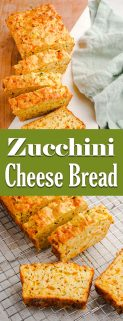 Zucchini Cheese Bread Slices on Board and Cooling Rack