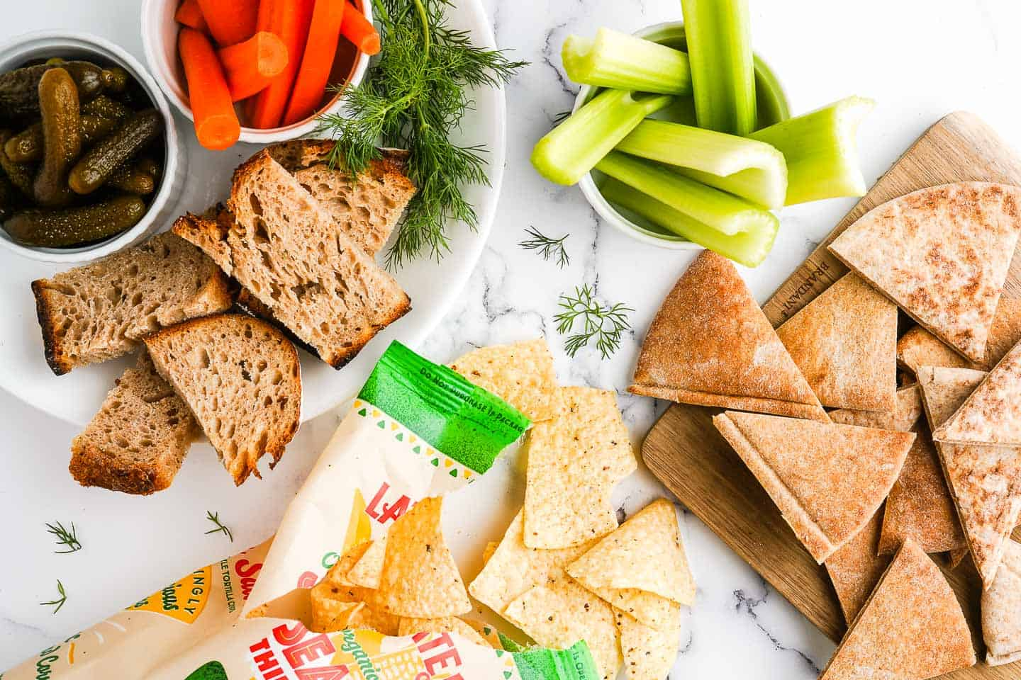 Chips Vegetables Bread and Pita