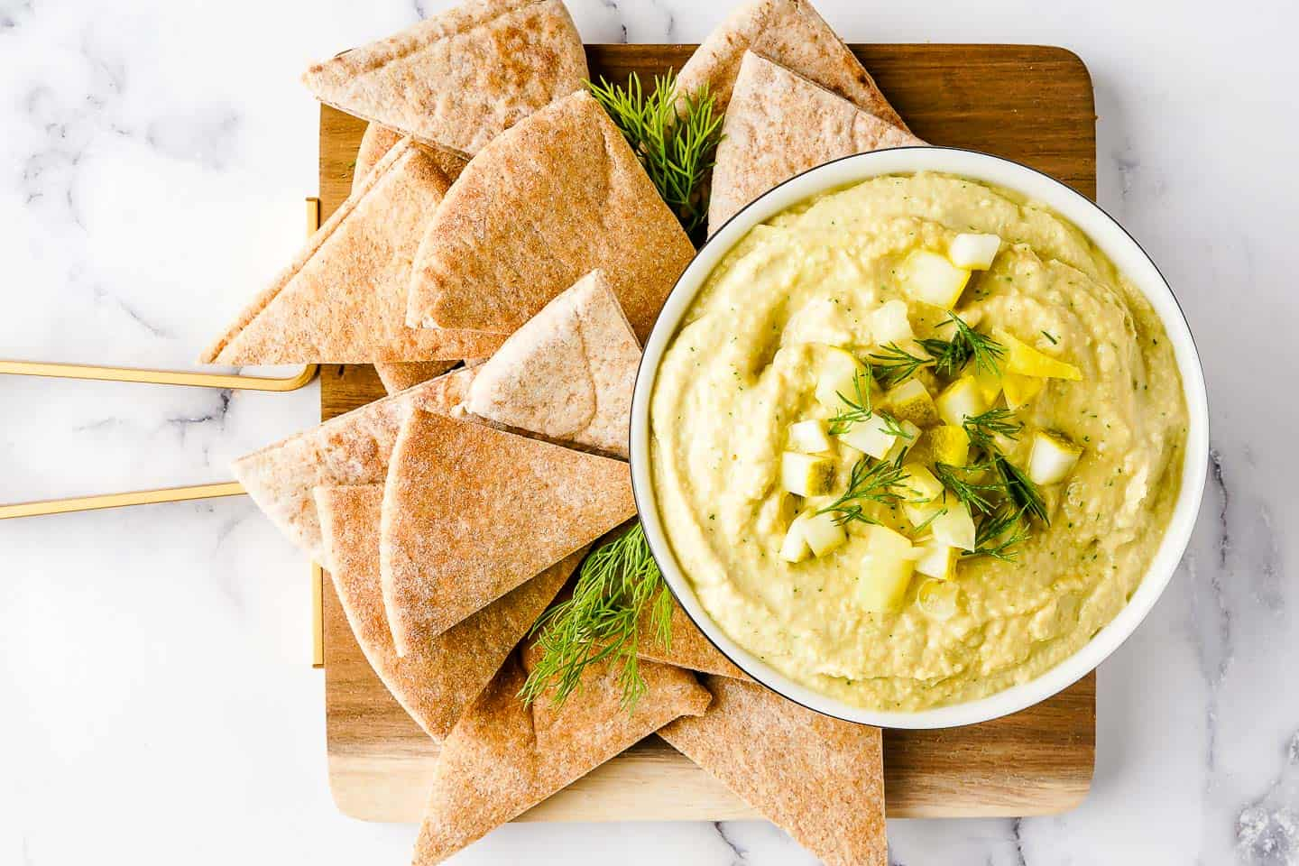 Dill Pickle Hummus and Pita on Wooden Board