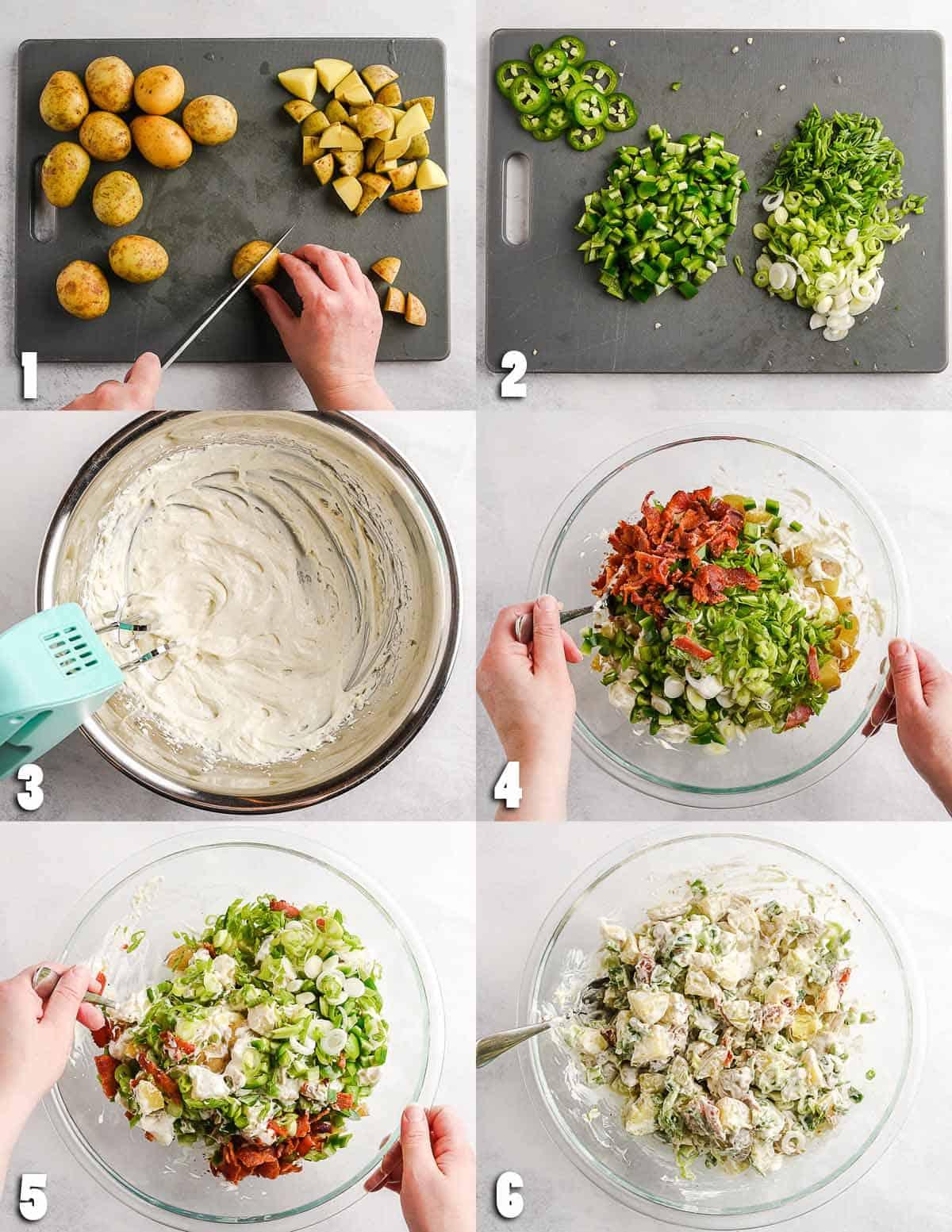 Jalapeno Popper Potato Salad Step by Step Collage