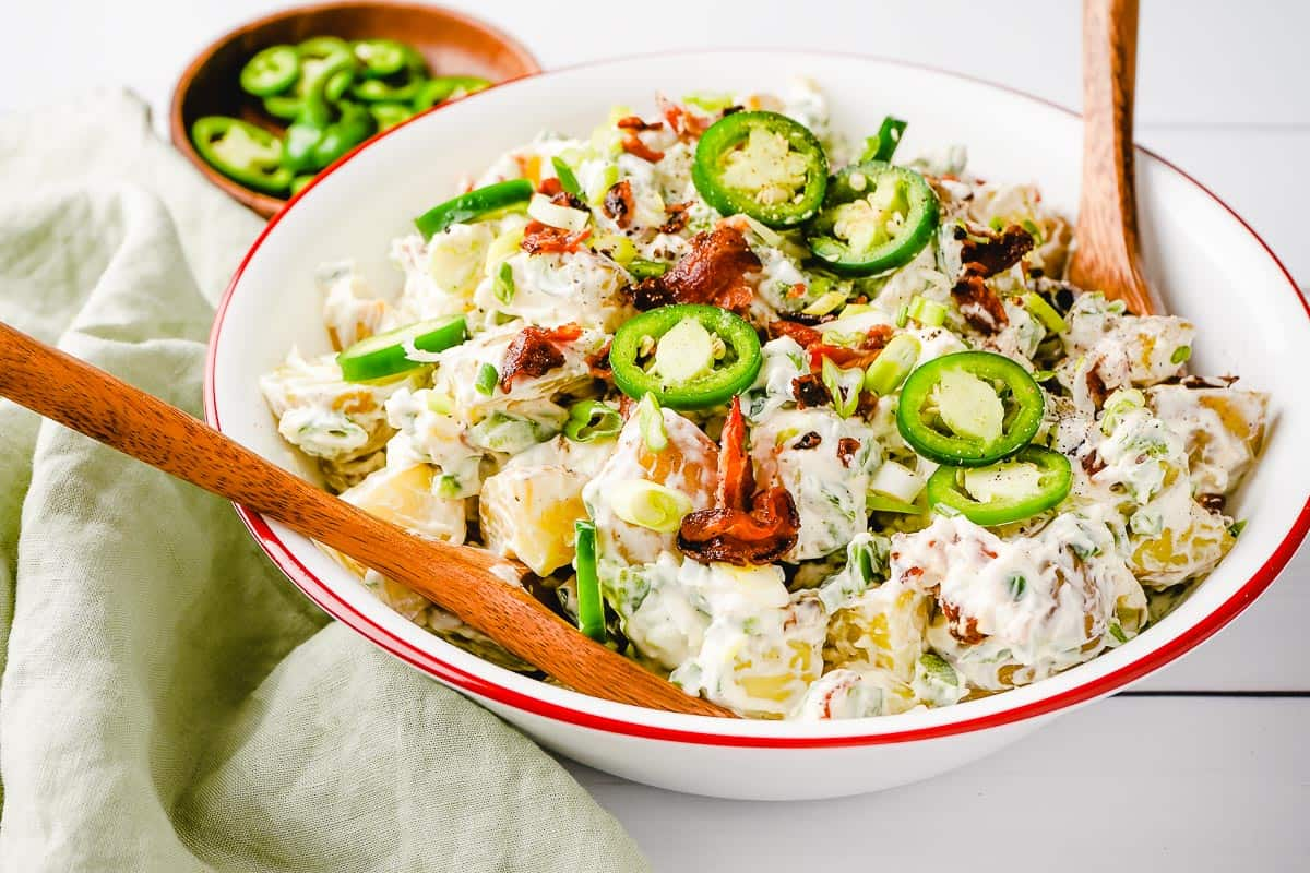 Jalapeno Popper Potato Salad in Bowl