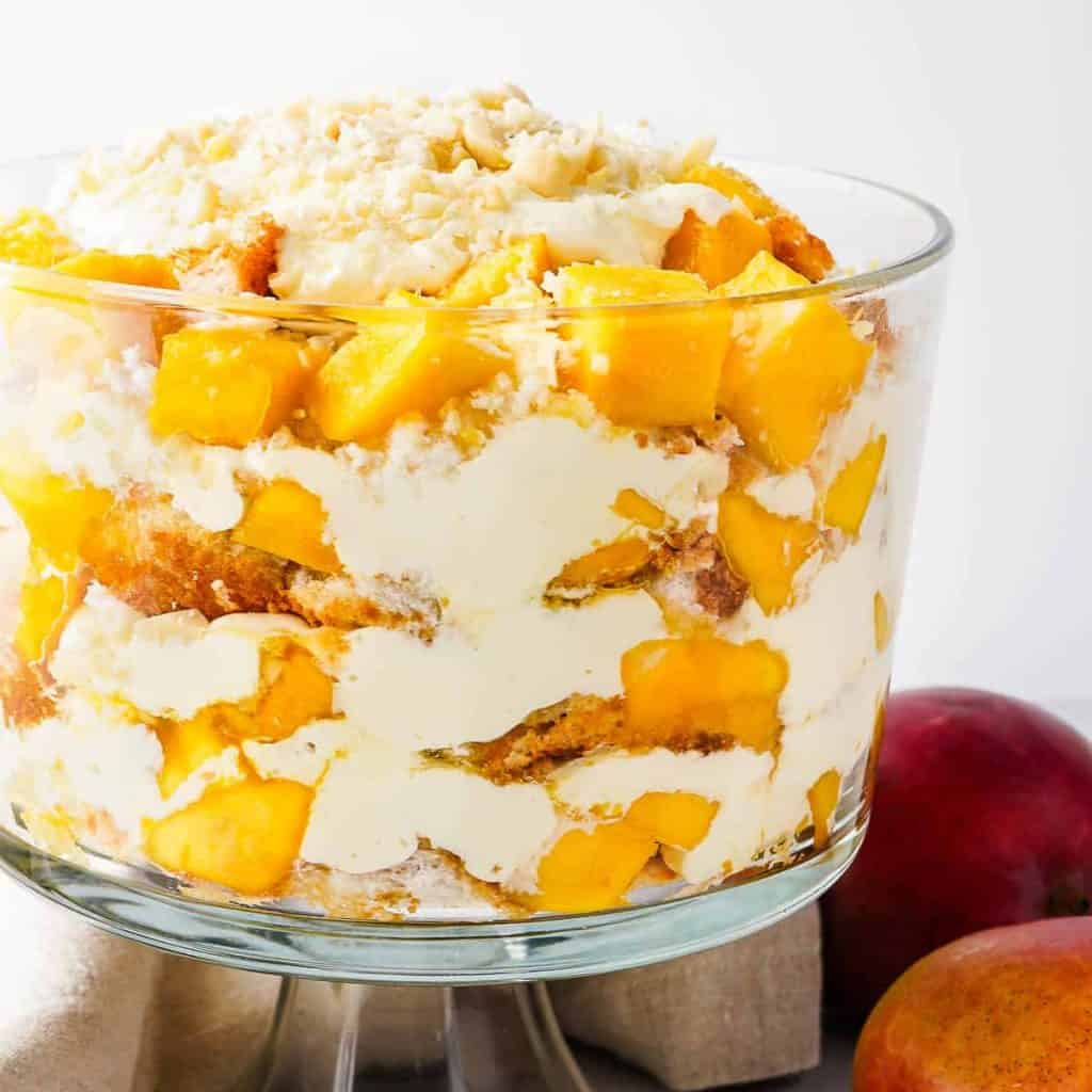 Mango Trifle in Glass Dish Close Up View